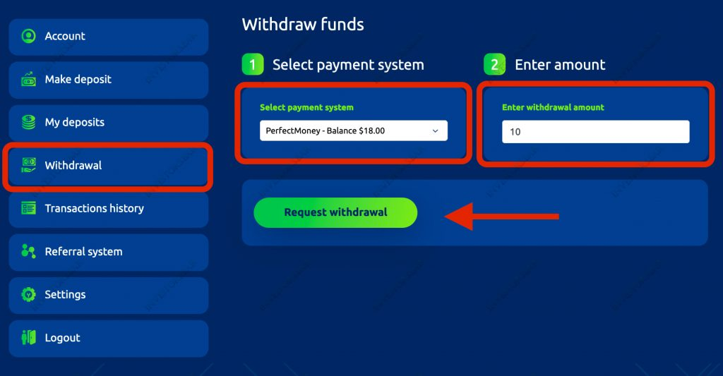 Withdraw action