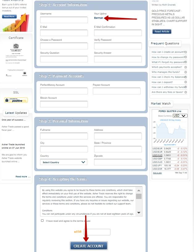 Register form Ashertrade.com
