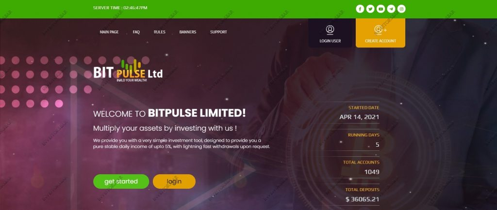 Page d'accueil Bitpulse.cc