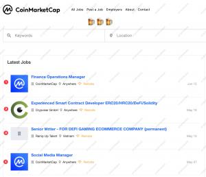 Jobs search Coinmarketcap